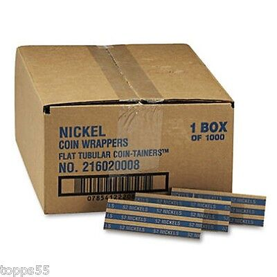 Coin-Tainer Company Pop-Open Flat Paper Nickel Coin Wrappers Nickels 1000 ct New
