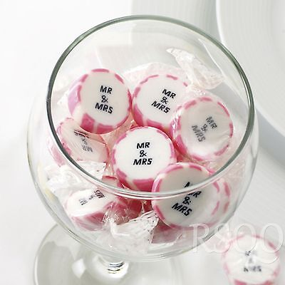 PINK MR AND MRS ROCK SWEETS WEDDING FAVOURS WRAPPED x 50 (approx)