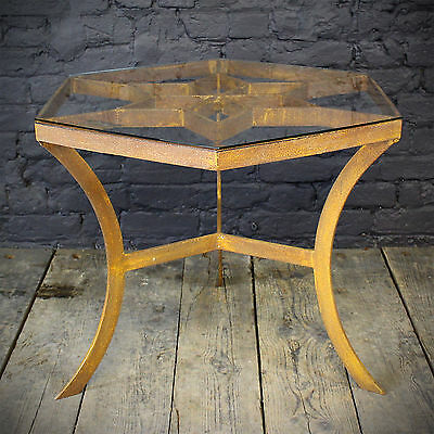 Iron Hexagonal Table with Safety Glass Top (£380 Ex VAT)