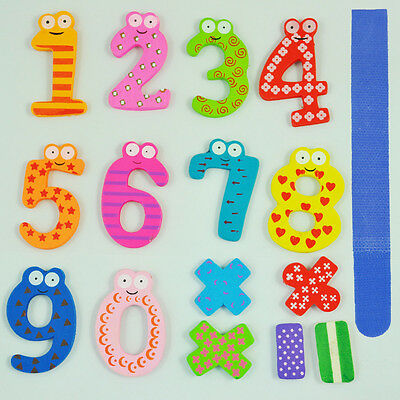Colorful Magnetic Numbers Wooden Fridge Magnets Kids Educational toys Gift FK