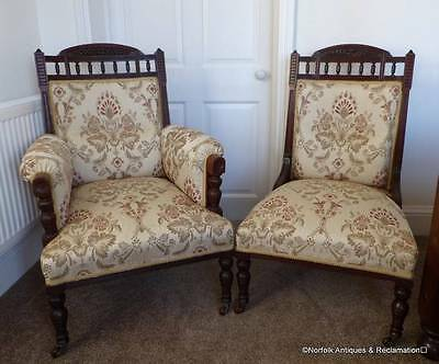 A Pair of Edwardian His & Hers Parlour Chairs Hand Carved  (£695 Ex VAT)