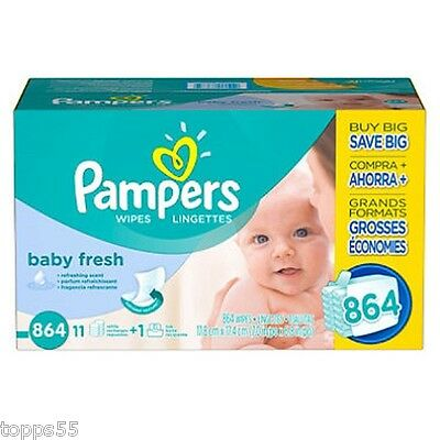 New Pampers Baby Fresh Hypoallergenic Refreshing Scent Baby Wipes 864 ct