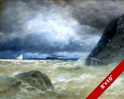 Steamship & Sailboat At On Stormy Sea Seascape Painting Art Real Canvas Print