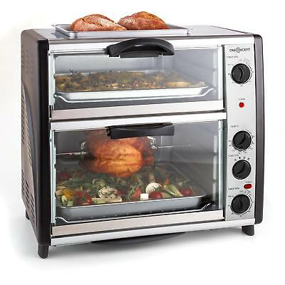 All-You-Can-Eat Double Oven With Grill 42-Litre By oneConcept - Stainless Steel