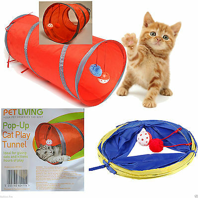 Pop Up Cat Kitten Play Tunnel Fun & Strong For Pets RANDOM COLOUR