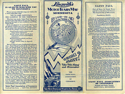 1929 LANGWITH\'S MOTOR Trails Road Map of Minnesota - $19.99 | PicClick