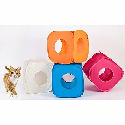 Pop Up Cat Kitten Play Cube Fun Strong Box For Cat Small Pets Folds Away