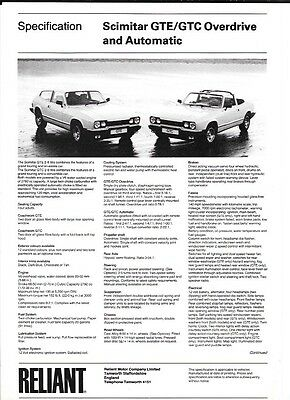 SCIMITAR GTE/GTC OVERDRIVE & AUTOMATIC SALES 'BROCHURE' SHEET EARLY 80's