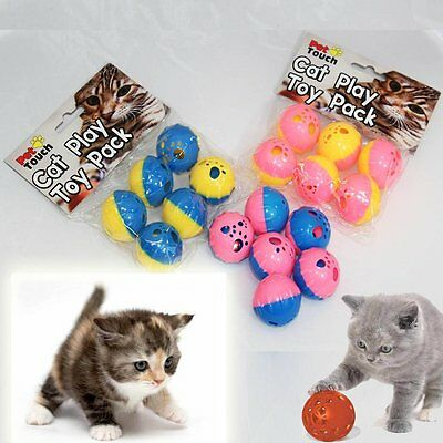 Set 6 Small Colorful Activity Cat Kitten Play Balls Toy With Bells Ht6137