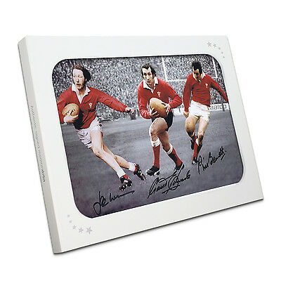 Gareth Edwards JPR Williams Phil Bennett Signed Rugby Photo In Gift Box