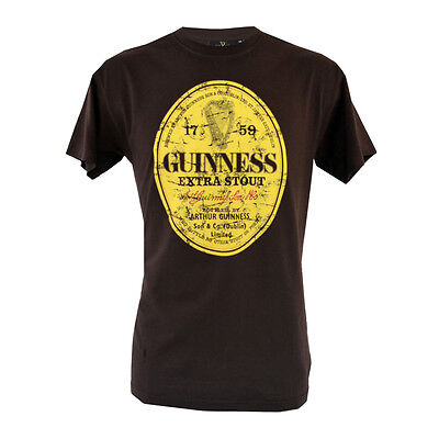 Brown Guinness Distressed Label T Shirt (S-XXL) Various Sizes Available New
