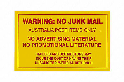 No Junk Mail Sticker Sign Australia Post Only Home Letter Mailbox, Stick On