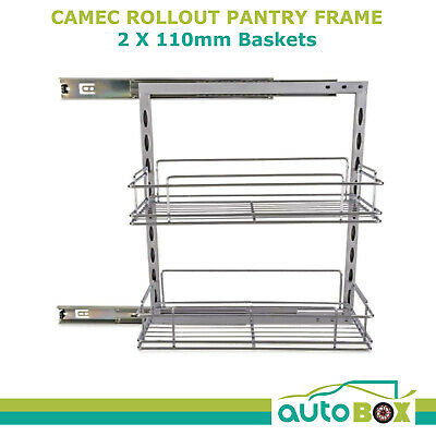 Caravan Rollout Pantry Frame w/ 2x 110mm Baskets Motorhome Camping Home Outdoor