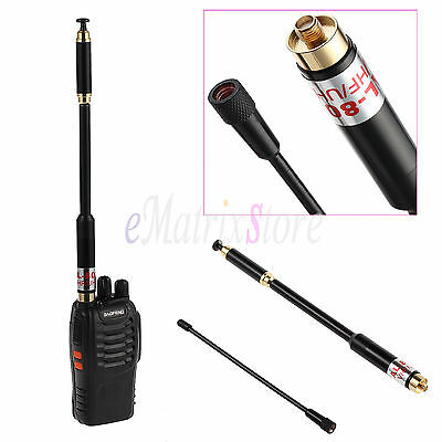 Dual Band Telescopic Extendable Whip Antenna 144/430Mhz VHF/UHF SMAF For Baofeng