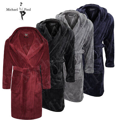"""""""Michael Paul"""" Mens Hooded Super Soft&Cosy Fleece Dressing Gown Robe Sizes M-5Xl"""