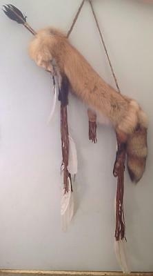 Fox Round Quiver, Authentic Native American and 2 Arrows by Tommy Billison