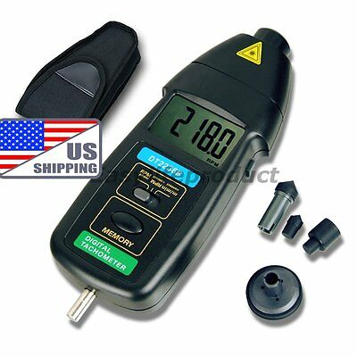 US Shipping DT2236B 2in1 Digital Laser Photo Contact Tachometer RPM