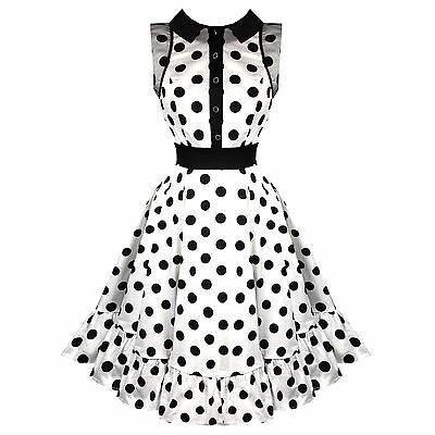 Hearts & Roses London White Polka Dot Vintage 50s Prom Swing Flared Dress UK
