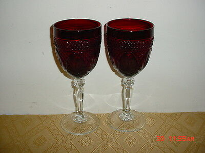 """2-Pc Cristal D'arques Durand Deep """"ruby Red"""" Crystal 8"""" Wine Goblets/sale!"""