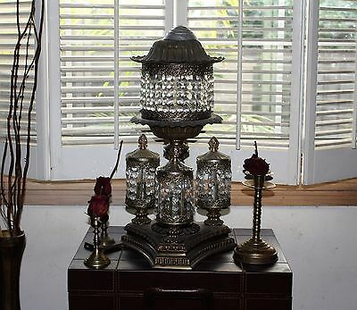 Vintage Mid Century Table Lamp Chandler Antique Golden Brass Petite Crystal 5