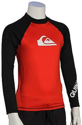 Quiksilver Boy's All Time LS Rash Guard - Red / Black - New