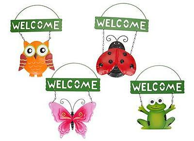 Garden Hanging Welcome Sign Wall plaque Fence Decorations ladybird butterfly