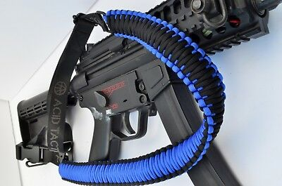 """60"""" Paracord Rifle Shotgun Airsoft or Paintball Sling 1 or 2 Point BLUE BLACK"""