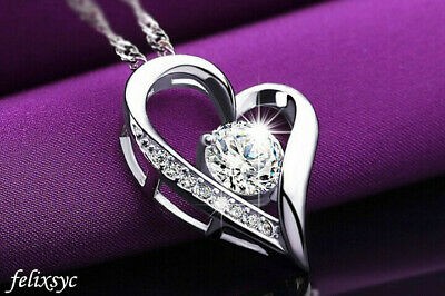 Princess Square Pendant 925 sterling silver Chain Necklace womens Jewellery Gift