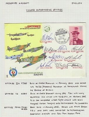 Great Britain 1975 Battle Of Britain Spitfires Rafa Goodwood Display Signed Fdc
