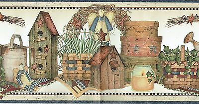 COUNTRY PRIMITIVE BIRDHOUSE BASKETS CANDLES STARS Wallpaper Wall bordeR ANGEL