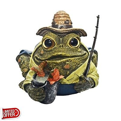 SALE Toad Hollow 94015 8.5 inch Fisherman Toad Garden Statue