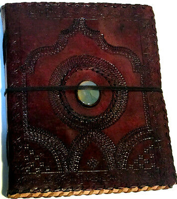 Handmade 8x10 Tri-fold Embossed Leather Journal - Album with Center Stone