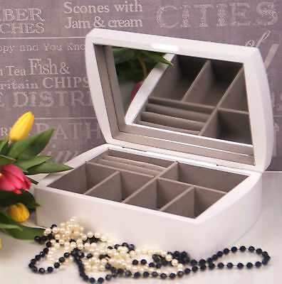 White Wooden Jewellery Box Display Drawer mirror Perfect Gift