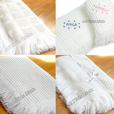 New Beautiful White Baby Shawl with Fringe Boys Girls Unisex - Choice of Design