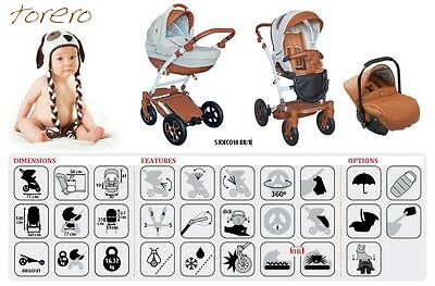 Baby Pram Pushchair Buggy stroller Leatherette Torero Travel System 3in1 - 4in1
