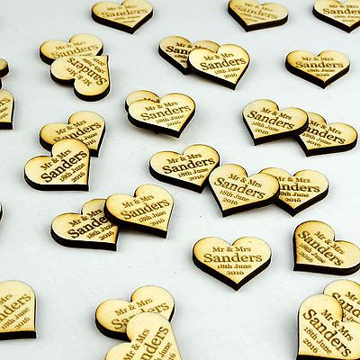 Personalised Wooden Love Heart Table Decorations Rustic Vintage Wedding Favours.