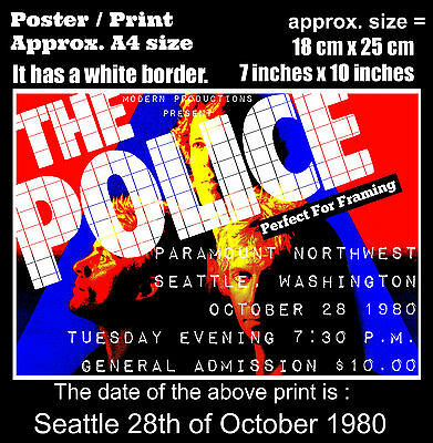 The Police live concert Paramount Seattle 28th October 1980 A4 size poster print