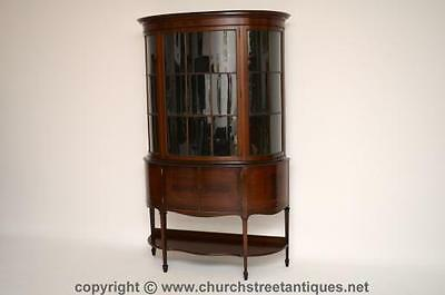 Large Antique Bow Fronted Mahogany Satinwood Display Cabinet