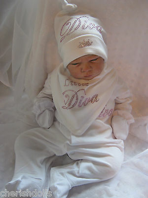 Reborn Baby Doll Or New Baby Diva White Rhinestone Bling Outfit Newborn Gift