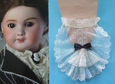 Antique Cotton French Lace Flounce Jabot ~ Collar, Neck Ruffle for DOLL