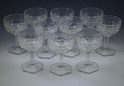 Vintage  Fostoria Glass  American Set Of 10 Champagne-Tall Sherbets, Goblets