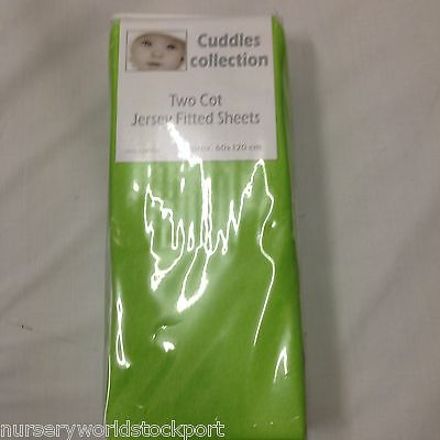 100% soft cotton jersey fitted cot sheets lime green 120 x 60 cms (pk of 2)
