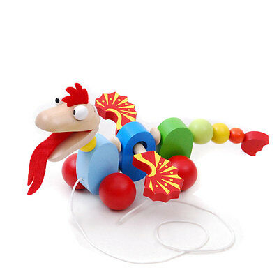 Brand new wooden pull / walk along toy animal - Dragon