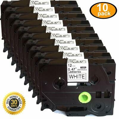 10pcs Black on White Label Tape Compatible for Brother TZ TZe 231 P-Touch Tze231