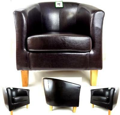 Brown Bonded Leather Tub Chair Armchair Dining Living Room Office Reception