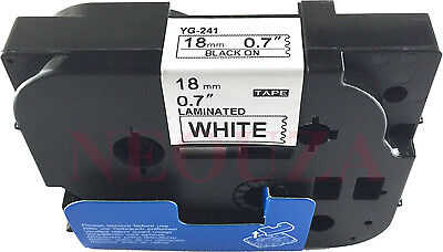 Great Quality Black on White Label Tape Compatible for Brother TZ TZe 241 18mm