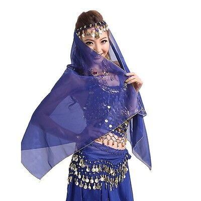 Belly Dance Chiffon Coins Face Veil Dancing Costumes Head Scarf Shawl Headpiece