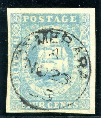 British Guiana 1855 QV 4c pale blue (four margins) VF used. SG 20. Sc 10b.