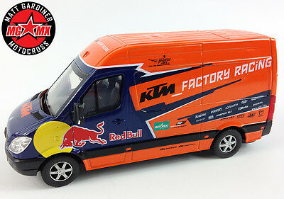 Ktm Red Bull Mercedes Sprinter Team Van Factory Motocross Racing Model Toy 1:38