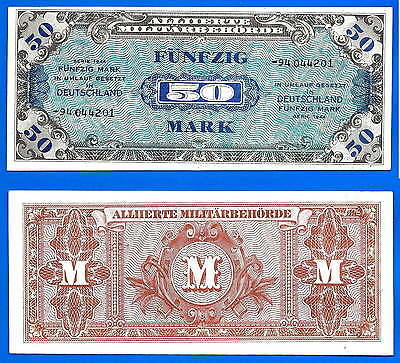 Germany 50 Mark 1944 Deutschland Made in USA Military banknote Size Dollars